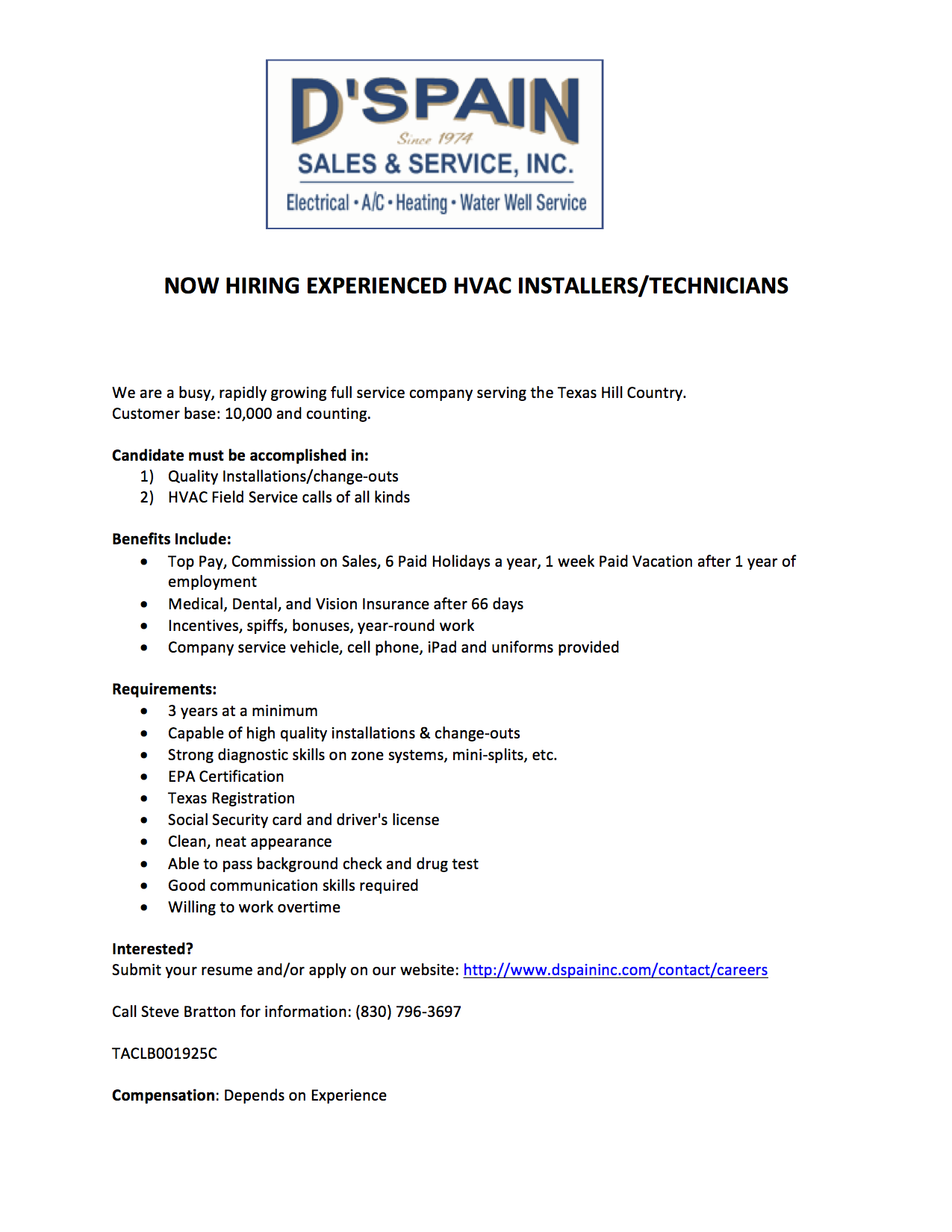 Boerne Tx Hvac Careers Dspain Sales Service Inc